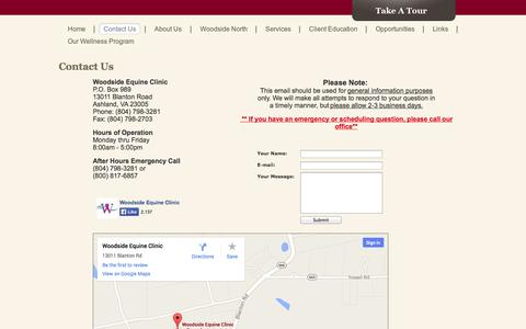 Screenshot of Contact Page Maps & Directions Page woodsideequineclinic.com - Contact Us - captured Oct. 22, 2014