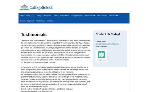 Testimonials - College Select, LLC