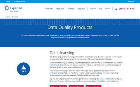 Screenshot of Products Page edq.com - Address Software for Superior Contact Management Software | Experian Data Quality - captured Sept. 12, 2016