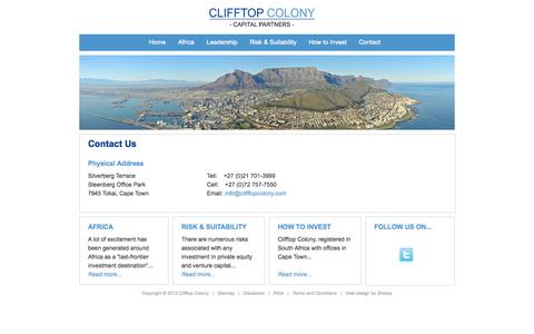 Screenshot of Contact Page clifftopcolony.com - Contact Us | Clifftop Colony - captured Oct. 2, 2014
