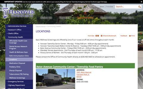 Screenshot of Locations Page hanover-township.org - Hanover Township, IL : Locations - captured Oct. 23, 2016