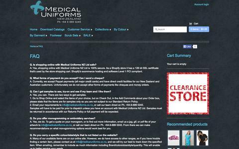 Screenshot of FAQ Page medicaluniforms.co.nz - Medical Uniforms NZ - FAQ - captured Oct. 27, 2014