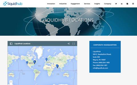 Screenshot of Contact Page Locations Page liquidhub.com - LiquidHub | Locations - captured July 4, 2016