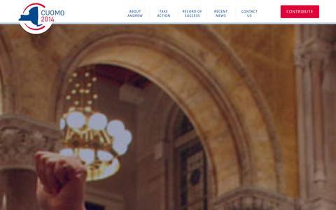 Screenshot of Home Page andrewcuomo.com - Cuomo 2014 - Andrew Cuomo for Governor of New york - captured Oct. 4, 2014
