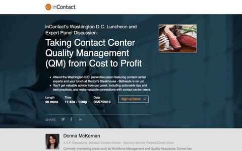 Screenshot of Landing Page incontact.com - inContact Washington DC Luncheon and Expert Panel Discussion - captured June 3, 2016
