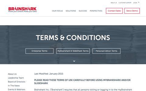Screenshot of Support Page brainshark.com - myBrainshark & SlideShark Terms of Use | Brainshark - captured Nov. 9, 2016