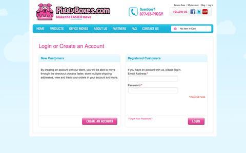 Screenshot of Login Page piggyboxes.com - Customer Login - captured Oct. 2, 2014