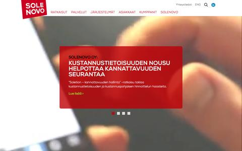 Screenshot of Home Page solenovo.fi - Etusivu | Solenovo - captured Jan. 22, 2016