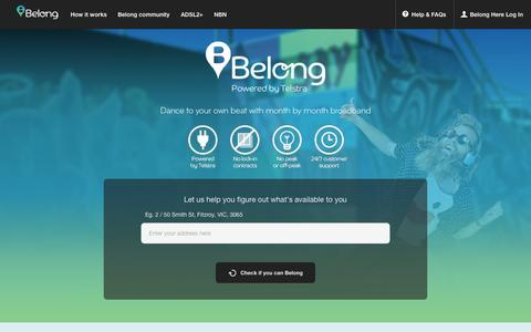 Screenshot of Home Page belong.com.au - Belong: Broadband with no lock-in contracts, be part of it - captured Sept. 19, 2014