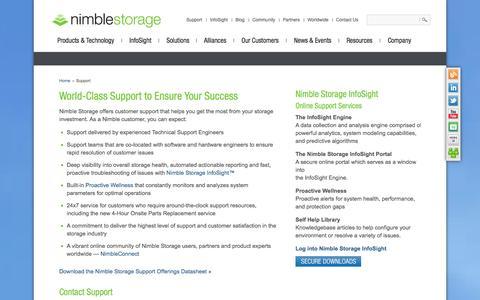 Screenshot of Support Page nimblestorage.com - Nimble Storage Support Portal - captured Nov. 2, 2014