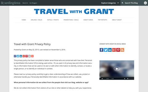 Screenshot of Privacy Page boardingarea.com - Travel with Grant Privacy Policy - captured Nov. 29, 2016