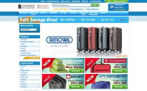 Screenshot of Home Page coloradobaggage.com - Online Luggage | Samsonite | Travelpro | Rimowa |  TUMI | Delsey | Eagle Creek - captured Oct. 2, 2014