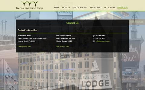 Screenshot of Contact Page banyan-ig.com - Contact Us | Banyan Investment Group - captured Oct. 5, 2014