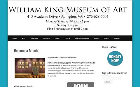 Screenshot of Signup Page williamkingmuseum.org - Become a Member - captured Oct. 26, 2014