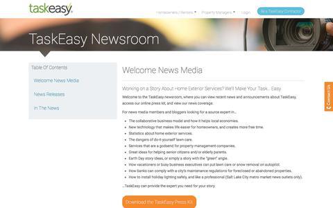 Screenshot of Press Page taskeasy.com - TaskEasy. Newsroom and other information about us. - captured Nov. 1, 2017