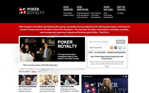 Screenshot of Home Page pokerroyalty.com - Poker Royalty - Poker Agency. Las Vegas. London. - captured Oct. 2, 2014