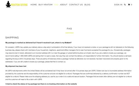 Screenshot of FAQ Page kratomdivine.com - FAQ - Kratom Divine - captured Oct. 16, 2017