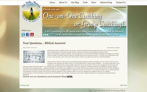Screenshot of FAQ Page debhollis.org - Your Questions… Biblical Answers!  |  Deb Hollis Ministries - captured Oct. 5, 2014