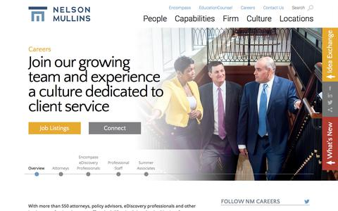 Screenshot of Jobs Page nelsonmullins.com - Nelson Mullins - Careers - captured Nov. 12, 2017
