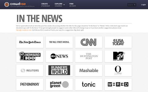 Screenshot of Press Page crowdrise.com - Crowdrise: In The News - captured July 20, 2014