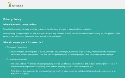 Screenshot of Privacy Page sproutling.com - Privacy — Sproutling Baby Monitor - captured July 19, 2016