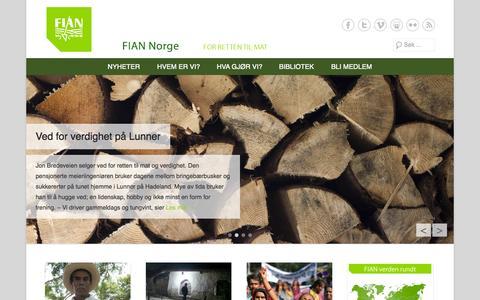 Screenshot of Home Page Menu Page fian.no - FIAN Norge | FIAN er en internasjonal menneskerettighetorganisasjon som arbeider for retten til fullgod mat. - captured Oct. 5, 2014