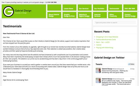 Screenshot of Testimonials Page gabrieldesign.co.uk - Testimonials for Gabriel Design. Graphic design in Manchester. | Gabriel Design - Creativity in Design - captured Sept. 26, 2014