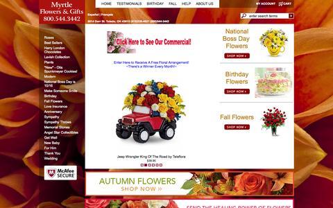 Screenshot of Home Page myrtleflowershop.com - Toledo Florists - Flowers in Toledo OH - Myrtle Flowers & Gifts - captured Oct. 6, 2014