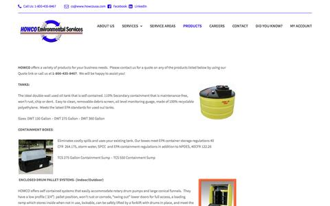 Screenshot of Products Page howcousa.com - Products – HOWCO Envrionmental Services - captured Oct. 12, 2016