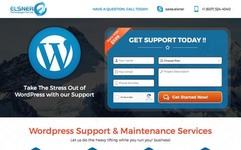 Screenshot of Landing Page elsner.com - Wordpress Maintenance Plan - captured July 28, 2016