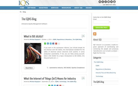 Screenshot of Blog iqs.com - The EQMS Blog | IQS - captured Oct. 4, 2014