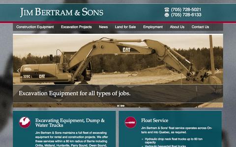 Screenshot of Home Page jimbertramandsons.com - Excavation and Float Service in Barrie, Ontario   Jim Bertram & Sons - captured Oct. 6, 2014