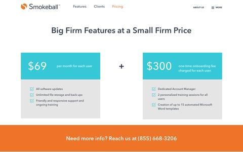 Screenshot of Pricing Page smokeball.com - Pricing - Software for Small Law Firms - Smokeball - captured July 26, 2016