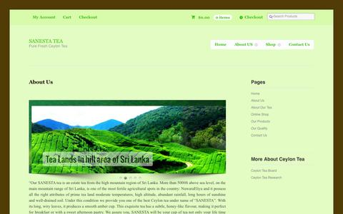 Screenshot of About Page sanestatea.com - Buy fresh ceylon tea online.Sanesta is ceylon tea manufacturer & exporterSANESTA TEA - captured Sept. 30, 2014