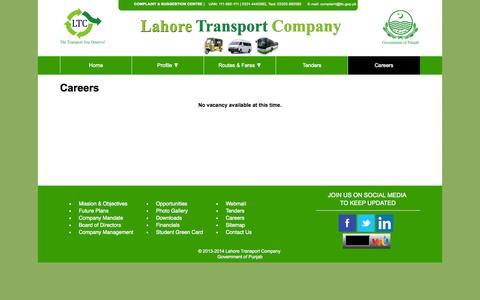 Screenshot of Jobs Page ltc.gop.pk - Lahore Transport Company (LTC) - captured Oct. 1, 2014
