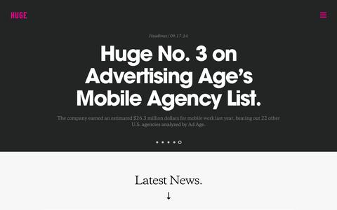 Screenshot of Press Page hugeinc.com - Huge: News - captured Sept. 18, 2014