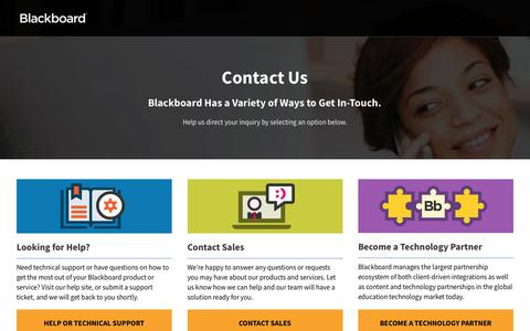Screenshot of Contact Page blackboard.com - Contact Us Form | Blackboard - captured March 27, 2019