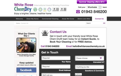 Screenshot of Contact Page whiterosechemdry.co.uk - Contact Us Leeds & Bradford | Brighter Cleaner Healthier | White Rose Chem-Dry® - captured Nov. 3, 2014