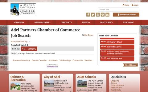 Screenshot of Jobs Page adelpartners.org - Job Search - Adel Partners Chamber of Commerce, IA - captured June 1, 2016