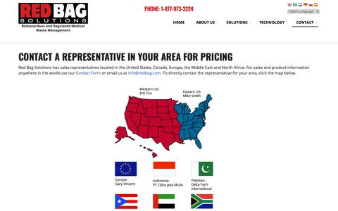 Screenshot of Pricing Page redbag.com - Contact a Representative in Your Area For Pricing | Red Bag Solutions - captured Nov. 15, 2018