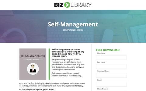 Screenshot of Landing Page bizlibrary.com - Self-Management [Competency Guide] - captured Feb. 26, 2017