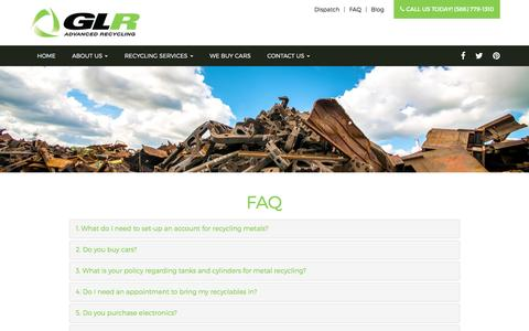 Screenshot of FAQ Page go-glr.com - FAQ - Roseville, Warren, Sterling Heights | GLR - captured Sept. 29, 2016