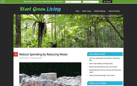 Screenshot of Home Page startgreenliving.com - Start Green Living For Healthy Tomorrow - captured Sept. 30, 2014