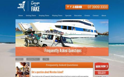 Screenshot of FAQ Page moretonislandadventures.com.au - Frequently Asked Questions - captured Oct. 26, 2014