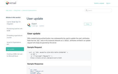 Screenshot of Support Page versal.com - User update – Help center - captured Dec. 3, 2019