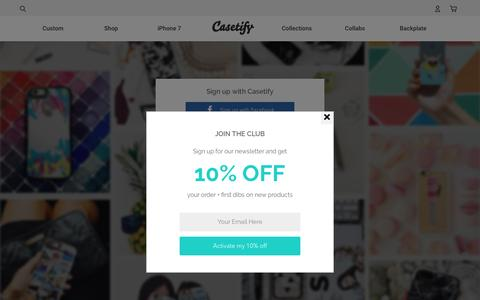 Screenshot of Signup Page casetify.com - Sign up - Casetify - captured Sept. 8, 2016