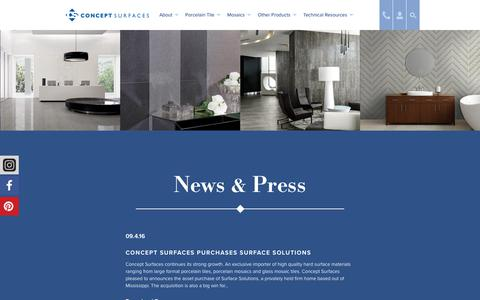 Screenshot of Press Page conceptsurfaces.com - Concept Surfaces - captured July 21, 2018