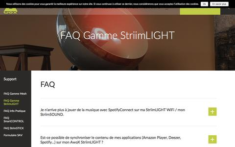 Screenshot of FAQ Page awox.com - FAQ Gamme StriimLIGHT - AwoX - captured May 9, 2017