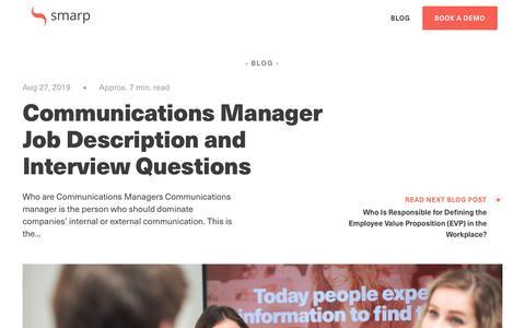 Screenshot of Blog smarp.com - Communications Manager Job Description and Interview Questions - captured Nov. 4, 2019