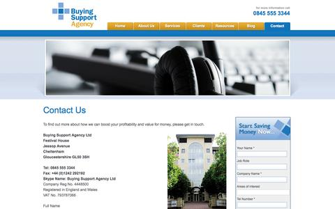 Screenshot of Contact Page buyingsupport.co.uk - Cost agency UK, let us evaluate and improve your business costs to streamline procurement and increase profit - captured Oct. 5, 2014